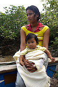 Lago Agrio - Wednesday, Dec 12 2007: Mother and daughter wait for a boat in Cuyabeno National Park. (Photo by Peter Horrell / http://www.peterhorrell.com)