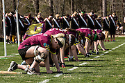 Players get ready for the start of a game at the 7th Annual Quidditch World Cup April 5, 2014 in Myrtle Beach, South Carolina. The sport, created from the Harry Potter novels is a co-ed contact sport with elements from rugby, basketball, and dodgeball. A quidditch team is made up of seven athletes who play with broomsticks between their legs at all times.