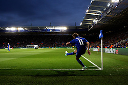 Marc Albrighton of Leicester City takes a corner during the defeat to Atletico Madrid in the UEFA Champions League Quarter-Final - Mandatory by-line: Robbie Stephenson/JMP - 18/04/2017 - FOOTBALL - King Power Stadium - Leicester, England - Leicester City v Atletico Madrid - UEFA Champions League Quarter-Final Second Leg