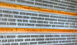 CENTRAL LONDON. Names of those killed in the September 11 attacks on a memorial. Family and friends of those killed in the World Trade Centre attacks in New York in 2001 visit the memorial to the British victims in Grosvenor Square.  11 September 2010. STEPHEN SIMPSON.