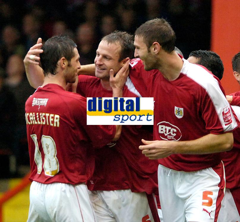 Photo: Ed Godden.<br />Bristol City v Doncaster Rovers. Coca Cola League 1. 28/10/2006. Bristol's Louis Carey (C) celebrates his goal.