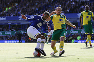 Aaron Lennon of Everton looks to turn his marker Robbie Brady of Norwich City. Barclays Premier League match, Everton v Norwich City at Goodison Park in Liverpool on Sunday 15th May 2016.<br /> pic by Chris Stading, Andrew Orchard sports photography.