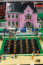 The SEC in Glasgow hosts Brick Live, the largest LEGO exhibition in the UK. Featuring models made up of over 6 million bricks, LEGO enthusiasts can build their own creations as well as admiring the models created by some of the leading designers including Scotland's Nick Clayton and Rocco Buttliere from Chicago.<br /> <br /> Pictured: A fantasy palace scene made from LEGO and featuring a working water fountain lake