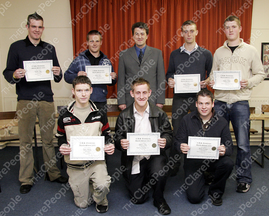 Past pupil of the C.B.S Secondary School in Ennistymon, Aiden Barry gets ready to present graduates of the 2005 Leaving Certificate with their scholorships to pursue their studies in third level education.<br /> From left: Michael Organ, Shane Keane, Aiden Barry, Padraig Brennan, Jonathan Devitt, Martin Sherlock, Martin O' Looney and Declan O' Looney.<br /> <br /> Photograph by Yvonne Vaughan.