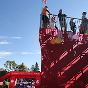 Ryder Cup 2016. Day Three. Spectators watching practice on the driving range before the start of Sunday's singles competition at  the Ryder Cup tournament at Hazeltine National Golf Club on October 02, 2016 in Chaska, Minnesota.  (Photo by Tim Clayton/Corbis via Getty Images)