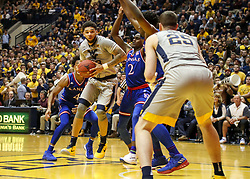 Jan 15, 2018; Morgantown, WV, USA; West Virginia Mountaineers forward Esa Ahmad (23) makes a move in the lane during the second half against the Kansas Jayhawks at WVU Coliseum. Mandatory Credit: Ben Queen-USA TODAY Sports