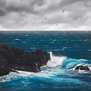 Waves washing over lava rocks off the coast of the island La Palme on a windy day