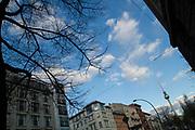 The landmark 368-meters high TV-Tower (Fernsehturm) on Alexanderplatz Square in Berlin, Germany, April 08, 2012.