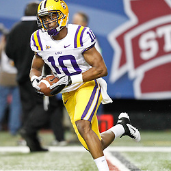Dec 3, 2011; Atlanta, GA, USA; LSU Tigers wide receiver Russell Shepard (10) prior to kickoff of a game Georgia Bulldogs during the 2011 SEC championship game at the Georgia Dome.  Mandatory Credit: Derick E. Hingle-US PRESSWIRE
