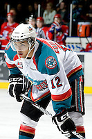 KELOWNA, CANADA, JANUARY 4: Tyrell Goulbourne #12 of the Kelowna Rockets faces off as the Spokane Chiefs visit the Kelowna Rockets on January 4, 2012 at Prospera Place in Kelowna, British Columbia, Canada (Photo by Marissa Baecker/Getty Images) *** Local Caption ***