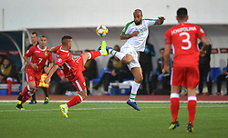Gibraltar's Liam Walker (left) and Republic of Ireland's David McGoldrick (right) battle for the ball during the UEFA Euro 2020 Qualifying, Group D match at the Victoria Stadium, Gibraltar.