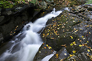 Upper part of Dunlop Falls (above the bridge) on Fortune Creek (Ruisseau Fortune) in the fall. Photographed near the Dunlop Picnic Area during Fall Rhapsody in Gatineau Park, Québec, Canada.