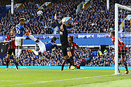Mason Holgate of Everton and Oumar Niasse of Everton ©  are denied by a clearance off the line by Andrew Surman of Bournemouth (r). Premier league match, Everton vs Bournemouth at Goodison Park in Liverpool, Merseyside on Saturday 23rd September 2017.<br /> pic by Chris Stading, Andrew Orchard sports photography.