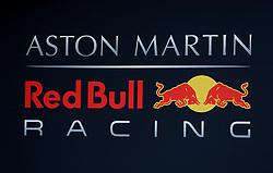 Aston Martin Red Bull Racing logo during day one of pre-season testing at the Circuit de Barcelona-Catalunya.