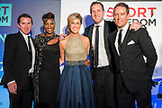 AP McCoy OBE, Denise Lewis, Julia Immonen, Will Greenwood and Simon Thomas Sky Sports - UK charity, Sport for Freedom (SFF), marks Anti-Slavery Day 2015 by hosting a charity Gala Dinner, supported by Aston Martin, on Thursday 15th October at Stamford Bridge, home of Chelsea Football Club. This inaugural event brought together people from the world of sport, entertainment, media, and business to unite behind a promise to tackle the issue of modern day human trafficking and slavery.  <br /> Hosted by Sky presenters Sarah-Jane Mee and Jim White, the Sport for Freedom Gala Dinner includes guests such as jockey AP McCoy OBE; Denise Lewis, former British Olympic Gold Medal winner; BBC Strictly star, Brendan Cole; Al Bangura, former Watford FC player and Sport for Freedom Ambassador who was trafficked from Africa to the UK at the age of just 14yrs old; Made in Chelsea star, Ollie Proudlock; ITV weather presenter, Lucy Verasamy; Sky Sports F1 presenter and SFF Ambassador, Natalie Pinkham; Premier League footballers Ryan Bertrand of Southampton FC and Troy Deeney of Watford FC and champion boxer, Anthony Joshua; and The UK's first independent Anti Slavery Commissioner, Kevin Hyland OBE, who highlighted the issues of modern day slavery that face the UK and world today. <br /> The evening concluded with chart topping music from 'Naughty Boy'. <br /> Sport for Freedom are also joining forces with the Premier League Academies for an international  'Football for Freedom' tournament with their U16's players that will also involve educating those taking part about the issues surrounding modern day slavery. The final will take place at Liverpool FC's Academy on Anti-Slavery Day, 18th October.