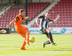 Dundee United's Tony Andrue scoring their third goal. Dunfermline 1 v 3 Dundee United, Scottish Championship game played 10/9/2016 at East End Park.