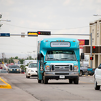 082713       Brian Leddy<br /> A Gallup Express vehicle drives along Aztec Avenue Tuesday afternoon.