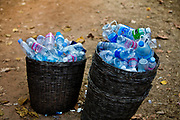 Water bottles left at the end of the day by tourists visiting the Angkor temple complex