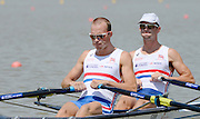 Chungju, South Korea. GBR LM2X, Bow Richard CHAMBERs and Peter CHAMBERS at the start of their heat at the 2013 FISA World Rowing Championships,  Tangeum Lake International Regatta Course. 11:59:43  Sunday  25/08/2013 [Mandatory Credit. Peter Spurrier/Intersport Images]