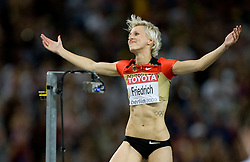 Ariane Friedrich of Germany reacts after last jump in the women's High Jump Final during day six of the 12th IAAF World Athletics Championships at the Olympic Stadium on August 20, 2009 in Berlin, Germany. (Photo by Vid Ponikvar / Sportida)