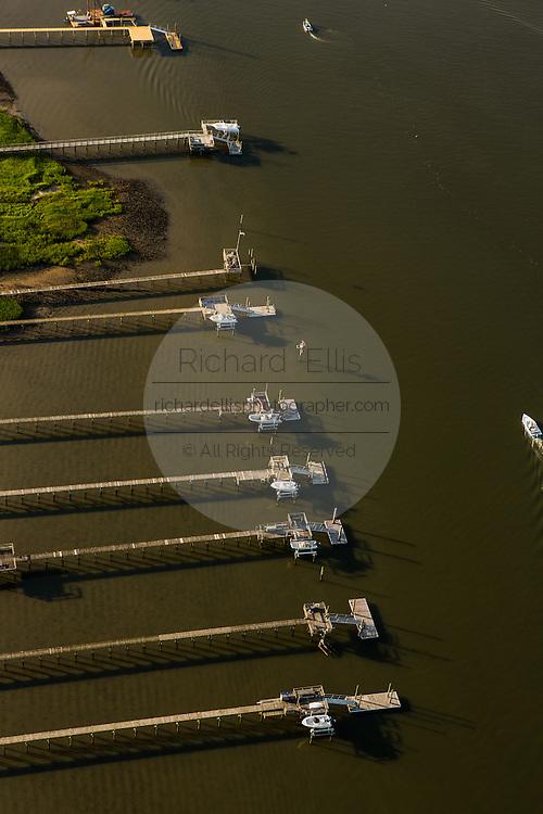 Aerial view of residential docks in Charleston, SC