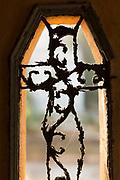 Cross in window of Christian cemetery in Casablanca,  Morocco. Cimetière el-Hank.