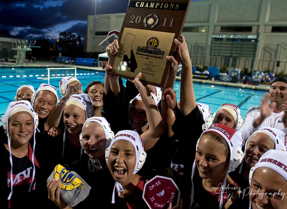 /Andrew Foulk/ For The Californian/ .Members of the Murrieta Valley's  girls water polo team  hold up their CIF trophy after beating St Lucy's Regents 8-7 in the CIF Southern Section Division III championship match.