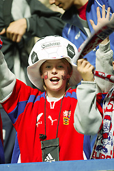 TEPLICE, CZECH REPUBLIC - Wednesday, April 30, 2003: Czech Republic fans watch their side beat Turkey 4-0 during a friendly match at the Teplice Stadion Na Stinadlech. (Pic by David Rawcliffe/Propaganda)