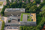 Nederland, Noord-Holland, Hilversum, 27-08-2013; Mediapark met VPRO gebouw en dat van NTR-Vara.<br /> Business park of the public and commercial broadcasting companies,  the VPRO (green roof) and NTR-Vara buildings.<br /> luchtfoto (toeslag op standaard tarieven);<br /> aerial photo (additional fee required);<br /> copyright foto/photo Siebe Swart.