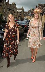 Left to right, sisters LADY MARIA BALFOUR and LADY KINVARA BALFOUR at the wedding of Hugh van Cutsem to Rose Astor in Burford, Oxfordshire on 4th June 2005.<br />