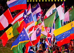 Flag of Slovenia during the closing ceremony of the London 2012 Paralympic Games on September 9, 2012, in Olympics stadium, Stratford, London, Great Britain. (Photo by Vid Ponikvar / Sportida.com)