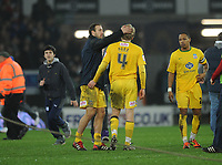 Football - League Cup Semi-Final Second Leg - Cardiff City vs. Crystal Palace<br /> Jonathan Parr of Crystal Palace is consoled by his team mates having missed the final penalty to lose the game at the Cardiff City Stadium