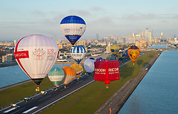 Hot air balloons launch from London City Airport, at the start of the 2017 RICOH Lord Mayor's Hot Air Balloon Regatta which features over 30 balloons flying over London from London City Airport as part of the airport's 30th birthday celebrations