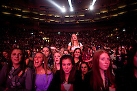 Teenage fans in the audience as Taylor Swift performs at the 2009 Z100's Jingle Ball at Madison Square Garden in New York. ..(Photo by Robert Caplin)..