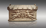 Roman relief sculpted sarcophagus with winged youths, 2nd century AD, Perge, inv 380. Antalya Archaeology Museum, Turkey ..<br /> <br /> If you prefer to buy from our ALAMY STOCK LIBRARY page at https://www.alamy.com/portfolio/paul-williams-funkystock/greco-roman-sculptures.html . Type -    Antalya    - into LOWER SEARCH WITHIN GALLERY box - Refine search by adding a subject, place, background colour, etc.<br /> <br /> Visit our ROMAN WORLD PHOTO COLLECTIONS for more photos to download or buy as wall art prints https://funkystock.photoshelter.com/gallery-collection/The-Romans-Art-Artefacts-Antiquities-Historic-Sites-Pictures-Images/C0000r2uLJJo9_s0