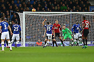Tom Cleverley of Everton shoots high and wide of goal. Premier league match, Everton v Manchester United at Goodison Park in Liverpool, Merseyside on Sunday 4th December 2016.<br /> pic by Chris Stading, Andrew Orchard sports photography.