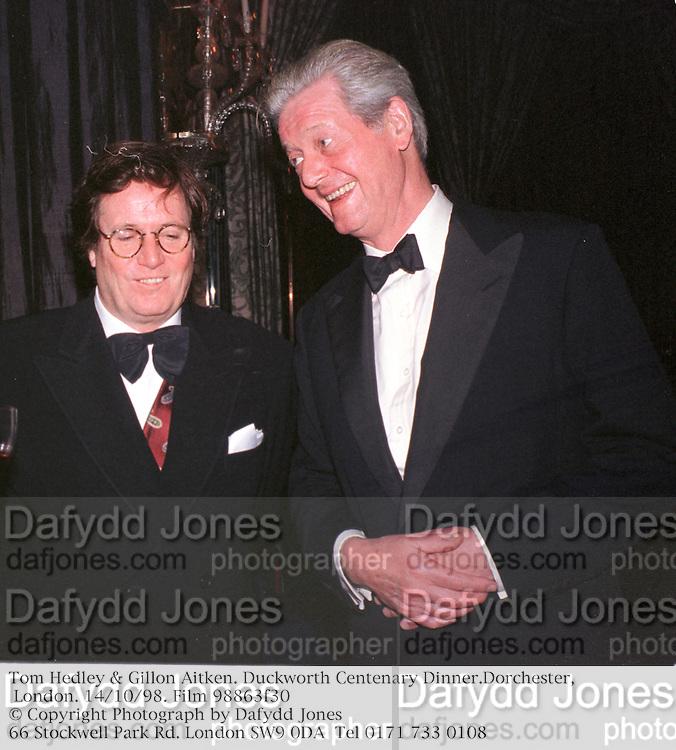 Tom Hedley & Gillon Aitken. Duckworth Centenary Dinner.Dorchester, London. 14/10/98. Film 98863f30<br />© Copyright Photograph by Dafydd Jones<br />66 Stockwell Park Rd. London SW9 0DA<br />Tel 0171 733 0108