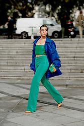 Street style, Didem Celebi arriving at Ludovic de Saint Sernin Spring Summer 2022 show, held at Institut du Monde Arabe, Paris, France, on Ocotber 3rd, 2021. Photo by Marie-Paola Bertrand-Hillion/ABACAPRESS.COM