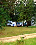 Laundry hanging in rural homestead.  Webster Wisconsin USA