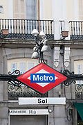 Metro Sign, Puerta del Sol, Madrid, Spain