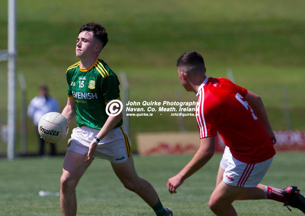 24-07-21. Meath v Louth - Leinster MFC Semi-Final at Pairc Tailteann, Navan.<br /> Hughie Corcoran, Aaron McGlew, Meath in action against Louth in the Leinster MFC Semi-Final.<br /> Photo: John Quirke / www.quirke.ie<br /> ©John Quirke Photography, 16 Proudstown Road, Navan. Co. Meath. (info@quirke.ie / 046-9028461 / 087-2579454).
