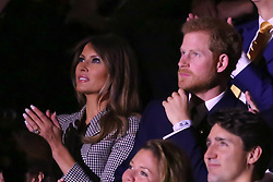 Prince Harry joined the First Lady Melania Trump and Canadian Premier Justin Trudeau at the opening ceremony of the Invictus games in Toronto<br /><br />23 September 2017.<br /><br />Please byline: Vantagenews.com