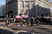 April, 19th, 2019 - London, Greater London, United Kingdom: The empty pink boat, a symbol of rebellion. Mass invasion of police and arrests. Final day annd evaciation of the pink boat at Oxford Circus.. Demonstration against Climate Crisis. Extinction Rebellion is demanding the UK government takes urgent action on climate change and wildlife declines. Extinction Rebellion activists disrupt traffic around famous London Landmarks. Thousands of protesters  converging on central hubs. Nigel Dickinson/Polaris