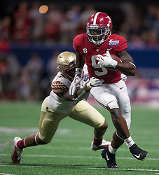Alabama Crimson Tide running back Bo Scarbrough (9) during the Chick-fil-A Kickoff NCAA football game on Saturday, September 2, 2017, in Atlanta. (Jason Parkhurst via Abell Images for Chick-fil-A Kickoff Game)