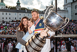 15.04.2016, Kapitelplatz, Salzburg, AUT, EBEL, Meisterfeier EC Red Bull Salzburg, im Bild Brian Fahey (EC Red Bull Salzburg) // Brian Fahey (EC Red Bull Salzburg) during the Erste Bank Icehockey Liga Championships Party of EC Red Bull Salzburg at the Kapitelplatz in Salzburg, Austria on 2016/04/15. EXPA Pictures © 2016, PhotoCredit: EXPA/ JFK