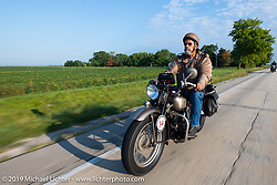 Don Baker riding his 1941 Indian 741B in the Cross Country Chase motorcycle endurance run from Sault Sainte Marie, MI to Key West, FL (for vintage bikes from 1930-1948). Stage 4 saw a 315 mile ride from Urbana, IL to Bowling Green, KY USA. Monday, September 9, 2019. Photography ©2019 Michael Lichter.