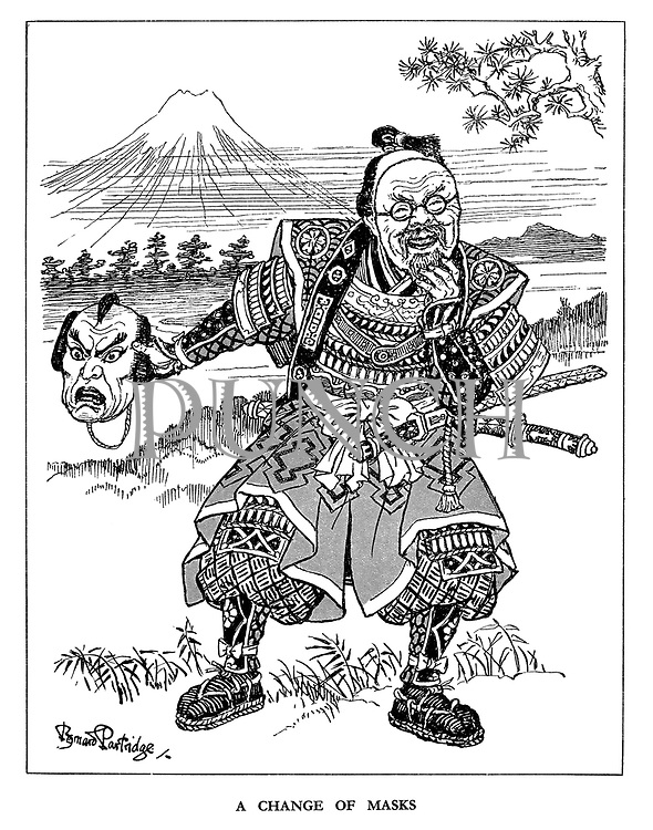 A Change of Masks. (Japan changes her angry mask for a happy mask bearing the face of Russian Minsiter of Foreign Affairs Vyacheslav Molotov)