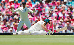 Australia's Steve Smith plays an unconventional shot during day two of the Ashes Test match at Sydney Cricket Ground.