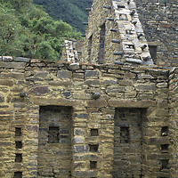 Rebuilt structures of unclear usage dominate Choquequirao, an Inca royal ceremonial site set high on a remote ridge in Peru's rugged Cordillera Vilcabamba.
