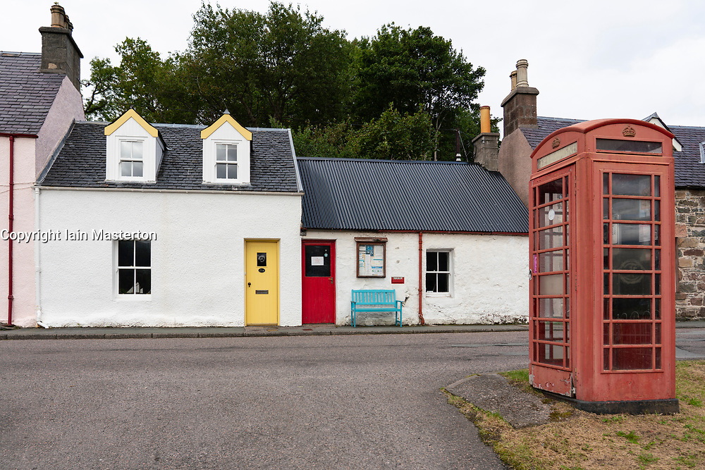 Old local shops in village of Plockton, in Lochalsh, Wester Ross area of the Scottish Highlands ,Scotland, UK